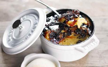 Nutmeg bread and butter pudding with rum ice cream- food recipes Tom Kerridge