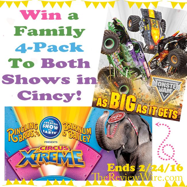 Cincinnati Giveaway: Monster Jam & Circus XTREME Tickets (2 winners) Ends 2/24/16 #cincinnati
