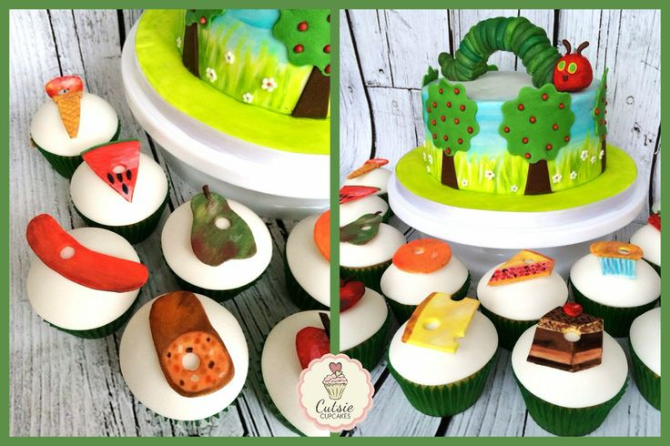 Cutsie Cupcakes - Hungry Little Caterpillar Cake from the famous children's book with matching Cupcakes