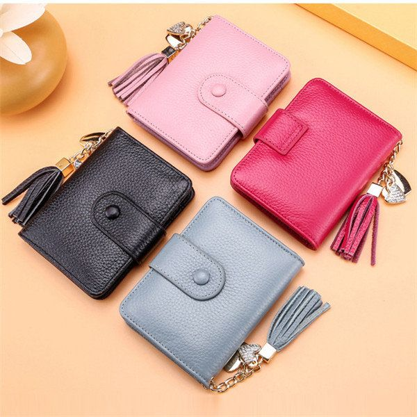 23 Card Slots Genuine Leather Hasp Card Holder Tassel Document ID Card Bags Purse For Women  #women  #bags #fashion