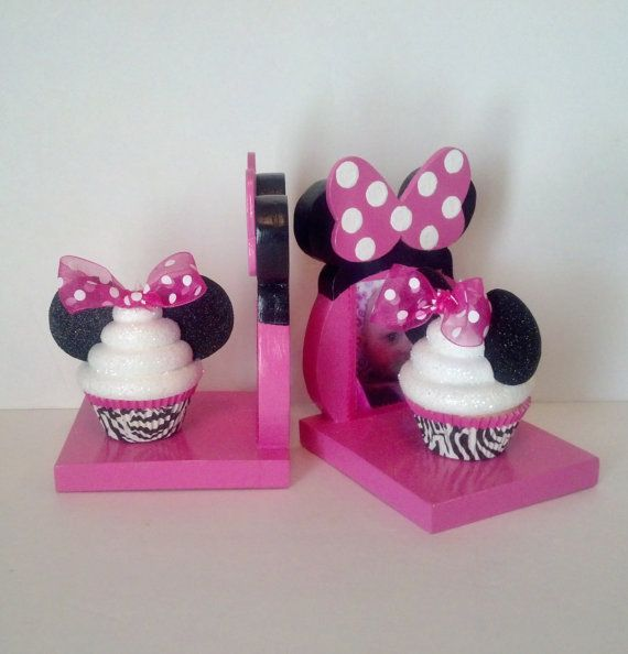Minnie Mouse Inspired Bookends with Fake Cupcakes in Zebra Liners, Photo Insert, Girls Room Decor, Birthday and Christmas Presents on Etsy, $39.00