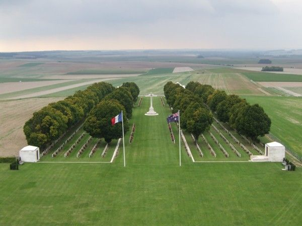 Villers Bretonneux (Australian) Military Cemetery, Somme France. Attended ANZAC Day ceremony here in 1996. The villagers LOVE Australians, after the village was liberated from the Germans in 1918.