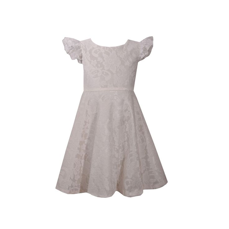 Girls 4-6x Bonnie Jean Lace Heart Back Dress, Girl's, Size: 6X, Natural