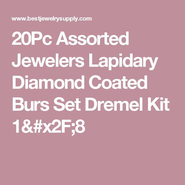 20Pc Assorted Jewelers Lapidary Diamond Coated Burs Set Dremel Kit 1/8