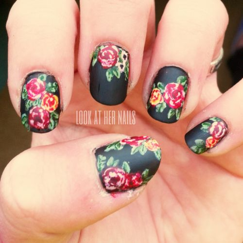 lookathernails: My nails this week! Inspired by Chelsea Queen's Doc Marten Nails! I was going to include the colors I used, but there were just way too many! But I did use Essie's Matte About You again this week!