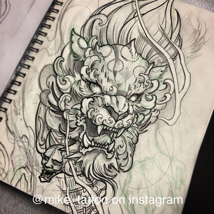 Foo lion sketch toronto tattoo foo dog Japanese tattoo design