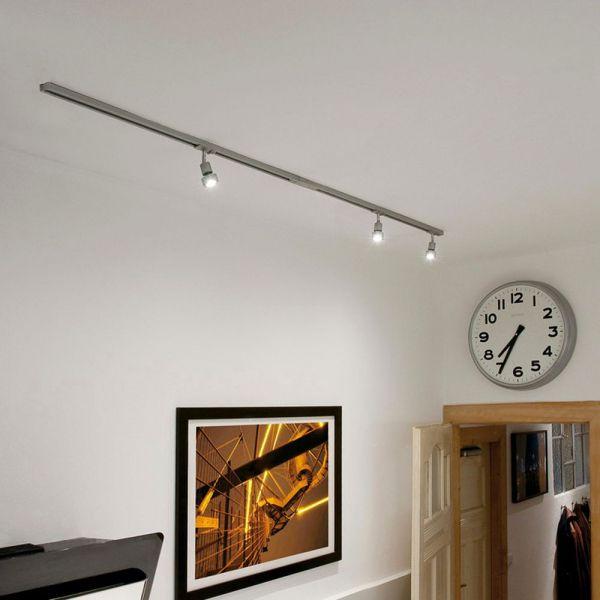 1 Phasen Schienensystem Aufbauschiene Starter Set 3 Spots Silber Grau 20 Slv 0143194 Schienensysteme Led Leuchtmittel Wohnzimmer Leuchte