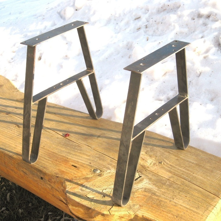 DIY Furniture Leg, Bench or CoffeeTable Legs WI USA Made, Unfinished 14.75 High 10 in. long Top Plate. $43.95, via Etsy.