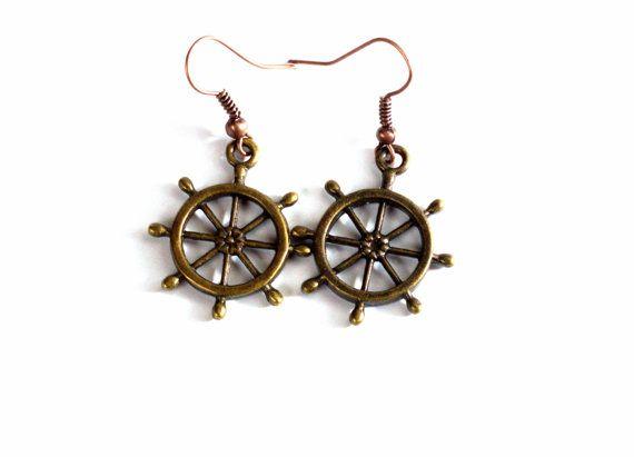 Antique Brass Ship Steering Wheel Earrings by BeyondtheWire