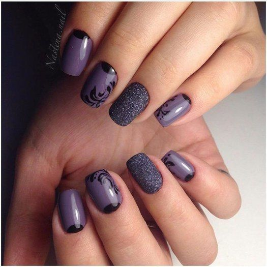 Gray nails, Gray shellac, Half-moon nails ideas, Nails by a gray dress