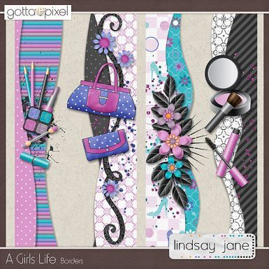 A Girls Life Digital Scrapbook Borders. $2.00 at Gotta Pixel. www.gottapixel.net/