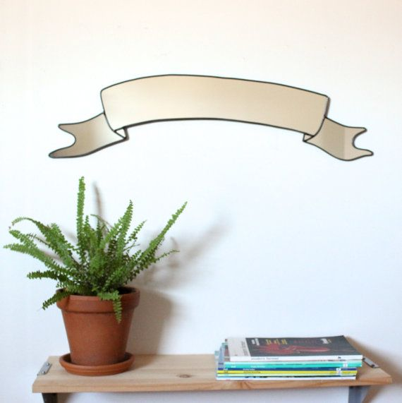 Ribbon Banner Mirror / Handmade Wall Mirror Scroll Banner Wall Art Decor Modern Mirror  > > > This item is made to order. Please allow up to three
