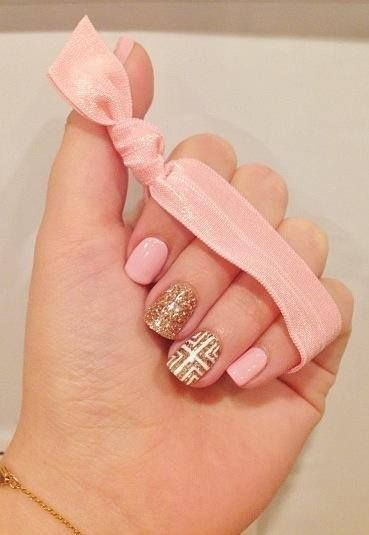 pink and shimmering gold nails