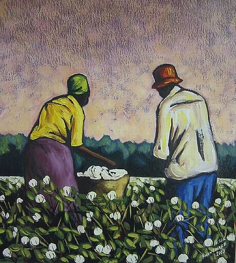 Oil Painting - Cotton Pickers by Peter Kwangware