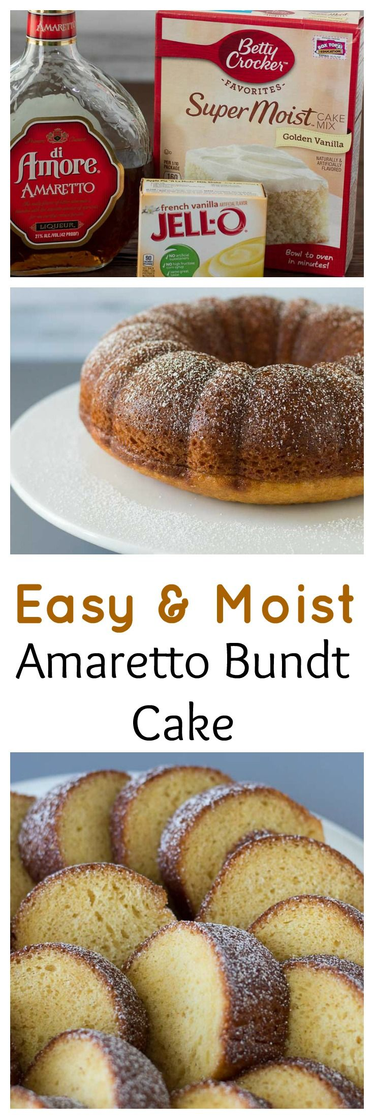 Easy and moist Amaretto Bundt Cake with a Buttery Amaretto Glaze. Great for the beginner cook.