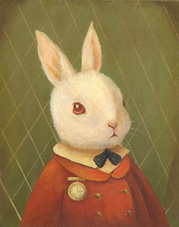 Favorite Story book character painting : Alice in Wonderland Art from The Black Apple: The White Rabbit.