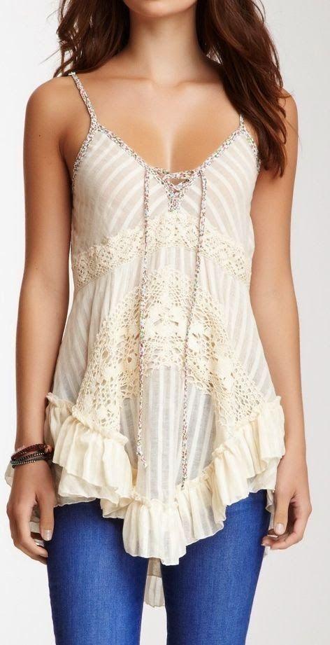 Boho ivory lace tank top. #fashion by Eva