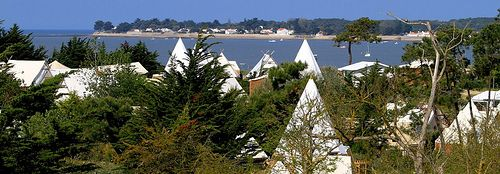 Teepees, tents and cabins on the coast of France at Domaine Les Moulins, Ile de Noirmoutier, Vendée