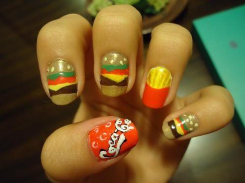 Cheeseburger, frenchfries, and coke nails.