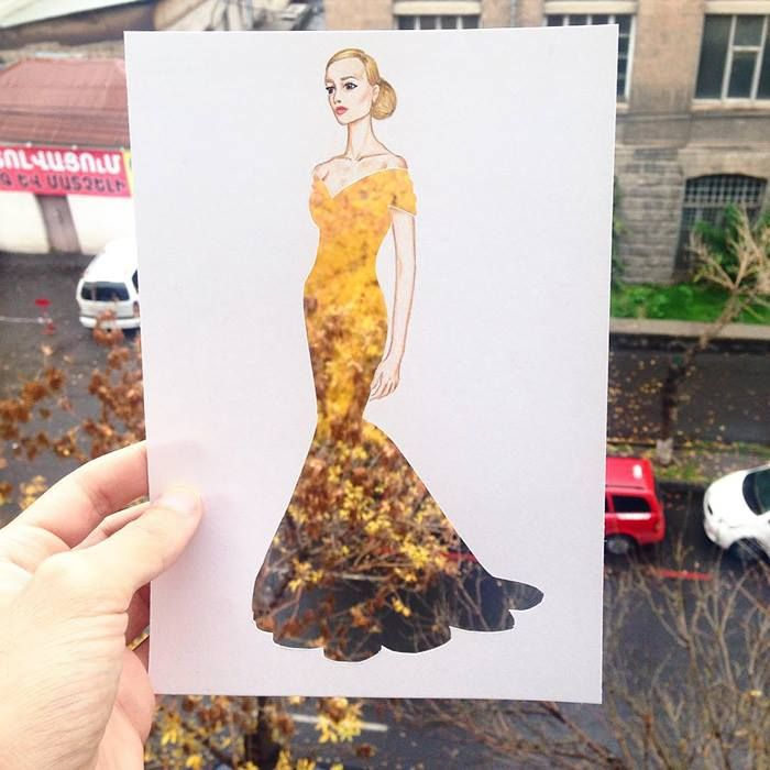 Armenian fashion illustrator Edgar Artis uses stylized paper cut outs and everyday objects to create beautiful dresses