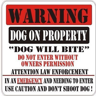 """Warning Dog On Property,Dog Will Bite Sign For FENCE ,Beware Of Dog Sign 8""""X11"""""""