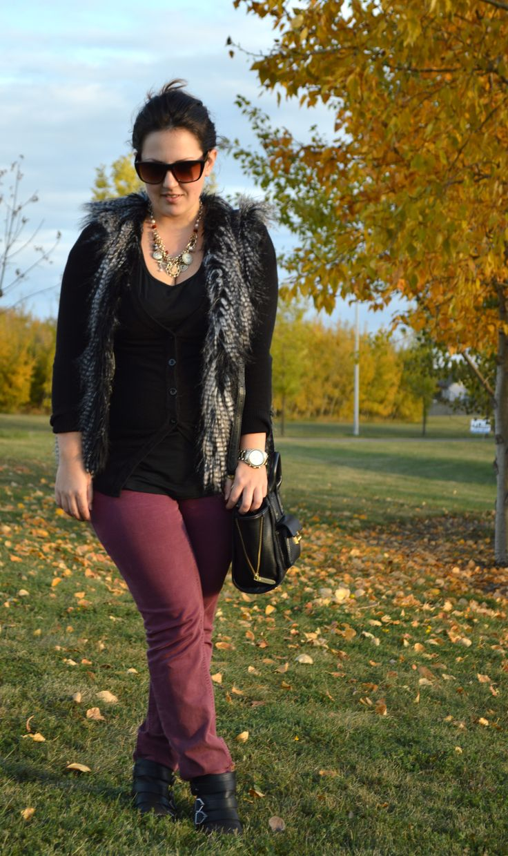 fur vest, H&M, fall style, casual