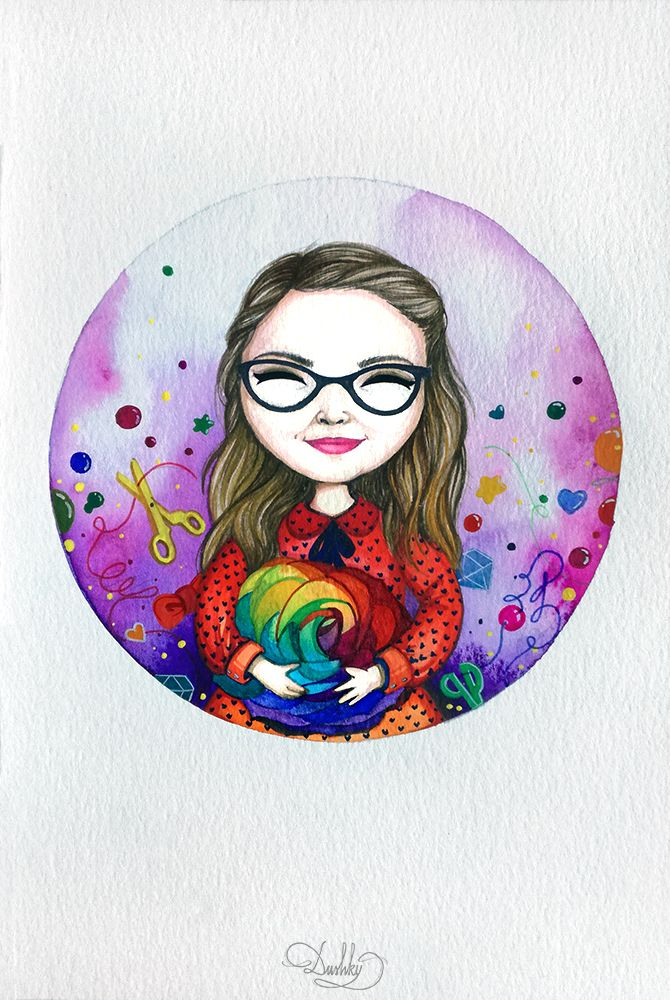 portrait by #dushky | #art #illustration #watercolor #portrait #girl #woman #jewelry #crafts #logo #graphic #design #color #rainbow #rose