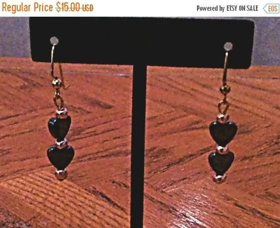 Sale 2 inch hematite hearts and rose gold earrings, black, rose gold, hematite, gift for her, mother's day, birthday, handmade earrings