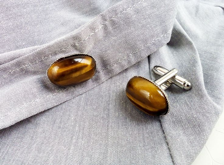 Tiger's eye cufflinks by MercysFancy on Etsy