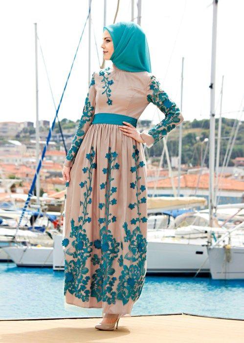 T 5050 Brode Tesettür Abiye-Alv Fashion - TURKUAZ - Trend Tesettür