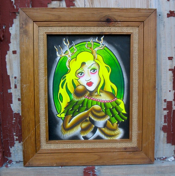 Deer Girl 12x15 original watercolor #forsale $75 #animorph #girl #lady #green #blonde #tattoo #traditional #american #oldschool #wicker #framed #traditionaltattoo