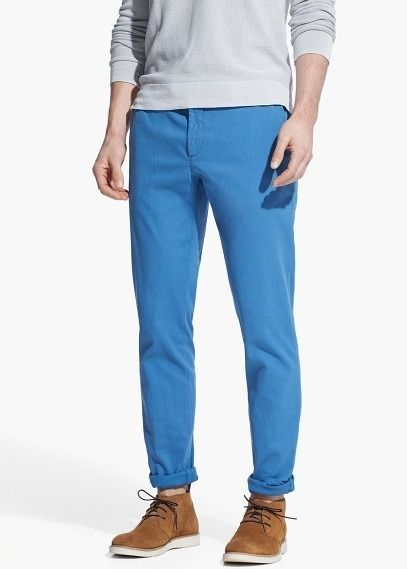 $29, Blue Chinos: Mango Slim Fit Cotton Chinos. Sold by Mango. Click for more info: https://lookastic.com/men/shop_items/312842/redirect