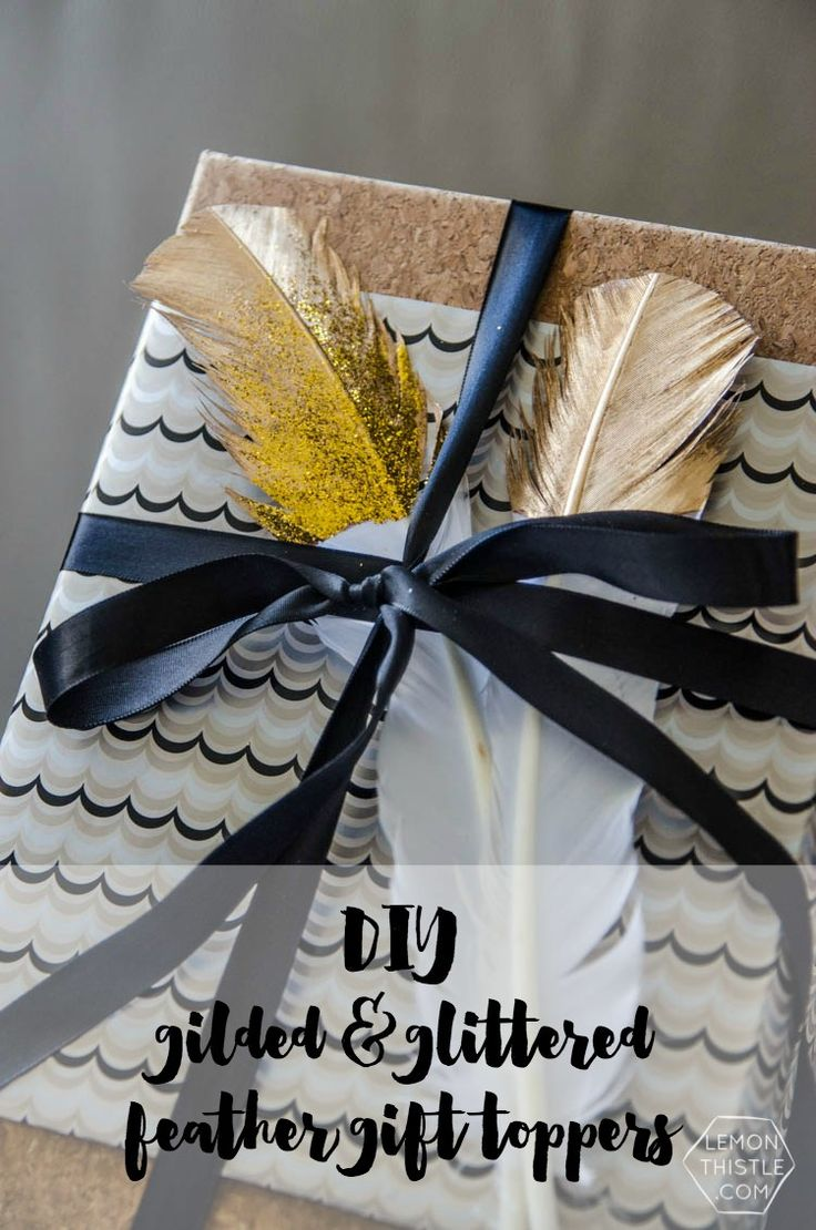 bridal shower poem for not wrapping gifts%0A DIY gilded and glittered feather gift toppers    these would make cute  christmas ornaments