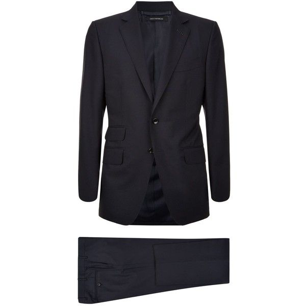 TOM FORD O'Connor Suit ($2,925) ❤ liked on Polyvore featuring men's fashion, men's clothing, men's suits, mens navy blue suit, mens navy suit, mens formal suits, old navy mens clothing and tom ford mens suits