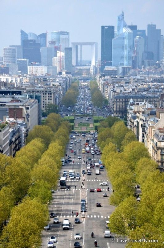 View down Avenue de la Grande Armee on La Defense from Arc de Triomphe - Paris - France