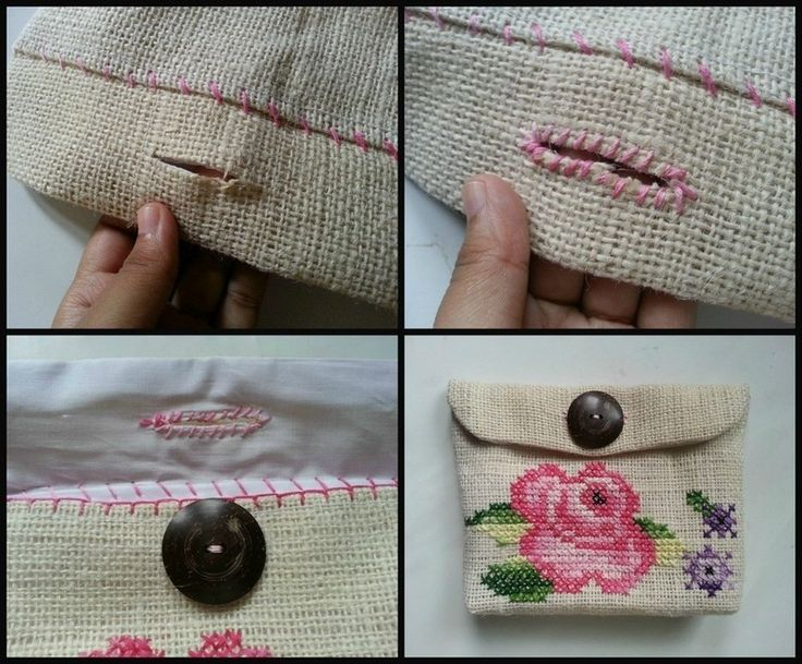How to make a stitched pouch. Cross Stitch Purse - Step 9