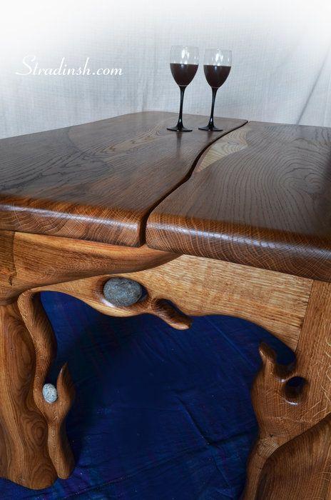Latvian north oak cofee table with stones - by Harijs stradins @ LumberJocks.com ~ woodworking community