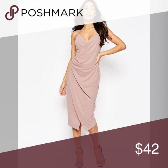 ASOS PETITE Cami Drape Crepe Midi Slip Dress Size 4 worn once. Like brand new. intermix Dresses Midi