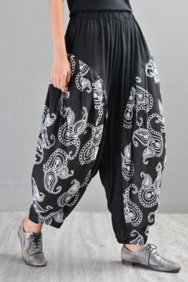 Paisley Printed Balloon Pants Black Plus Size Cotton Trousers In Black One Size Balloon Pants Linen Bottoms Black Pants