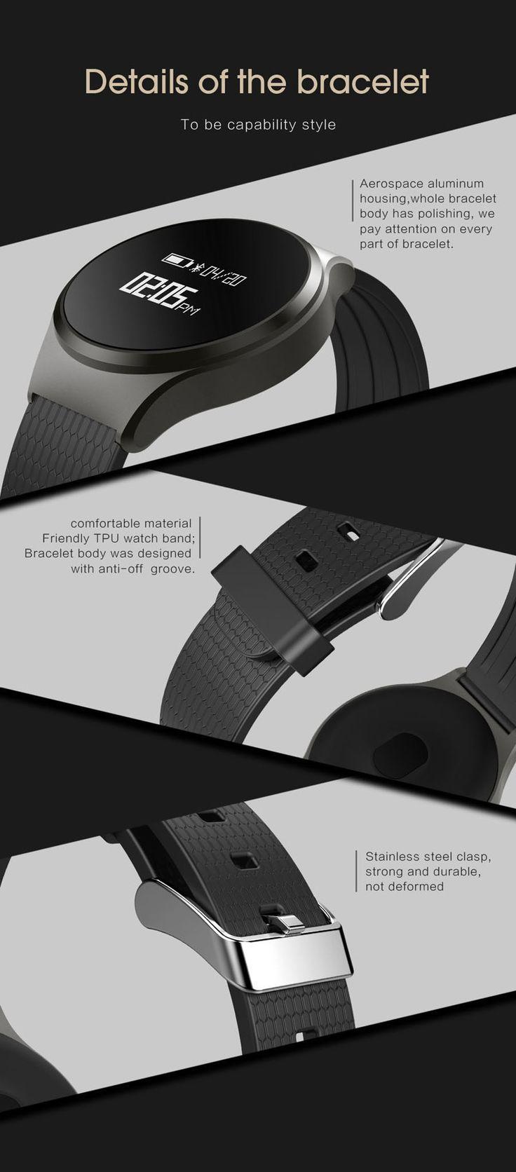 A68 Heart Rate Monitor Time Blood Pressure Detection Alarm Silica Gel Stap Smart Sport Bracelet