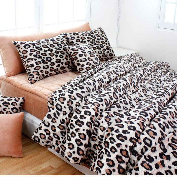 Beige Brown Leopard Microfiber Queen Duvet Cover Set. $135.95, via Etsy.