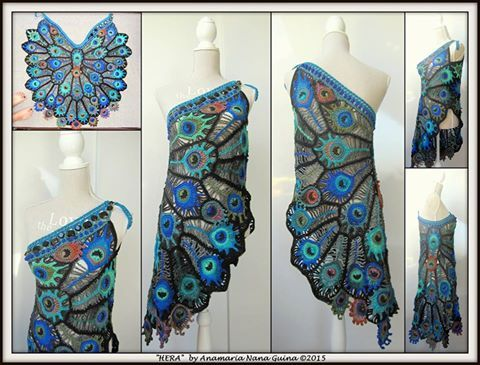 """resurrecting phoenix"" to the modern-day Peacock. (Crochet work made of cotton & viscose)"