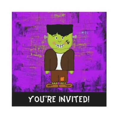 Cute Frankenstein invitations for Halloween! #Halloween #party #invitations #Frankenstein