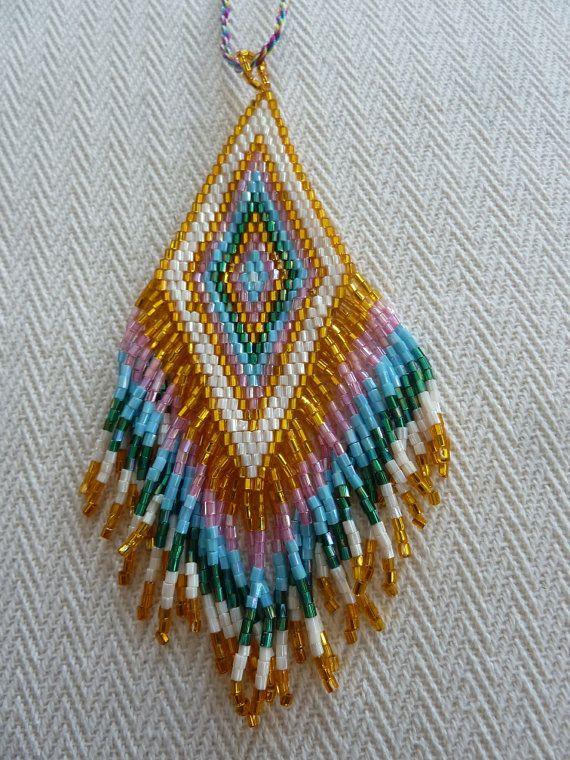 Bohemian Style Seed Beaded Fringe in Golden PinkGreen by amezti