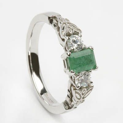 white gold diamond emerald engagement ring irish claddagh and celtic jewellery jewelry from allcladdagh - Cheap Wedding Rings Under 100