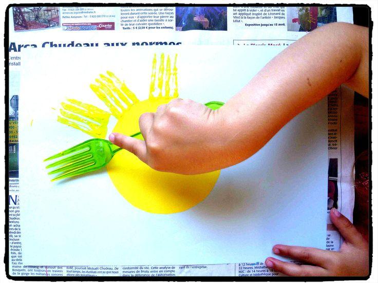 Peindre avec une fourchette acm t pinterest for Peindre une armoire en pin
