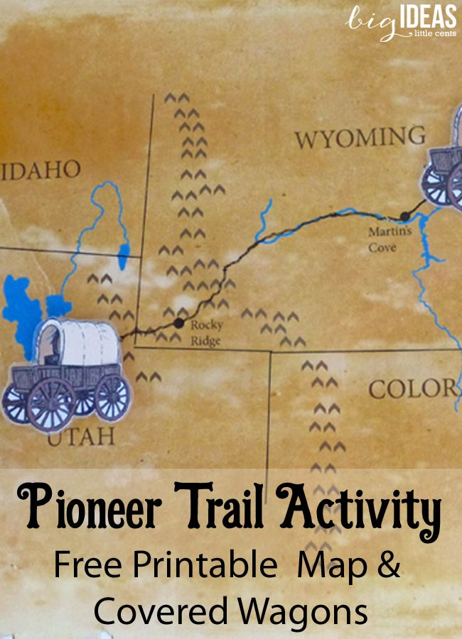 Pioneer Trail Singing Time Activity - Free printable Map and Covered Wagons. Stories included. Big Ideas Little Cents