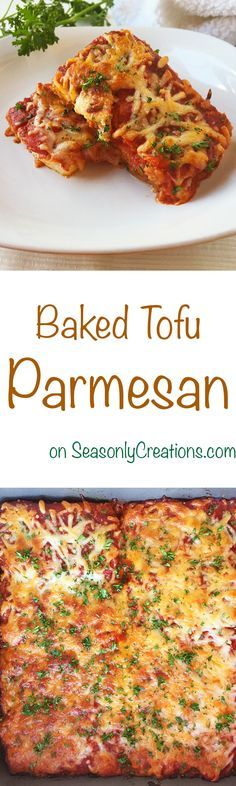 In need of some baked, melted goodness? Try out this tasty Tofu Parmesan recipe. Click through for the recipe! | SeasonlyCreations.com | @Seasonlyblog