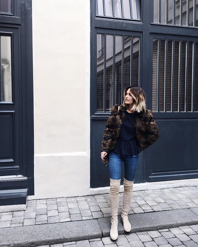    Faux fur jacket, top & boots available on my blog ( link in bio ) #shop   