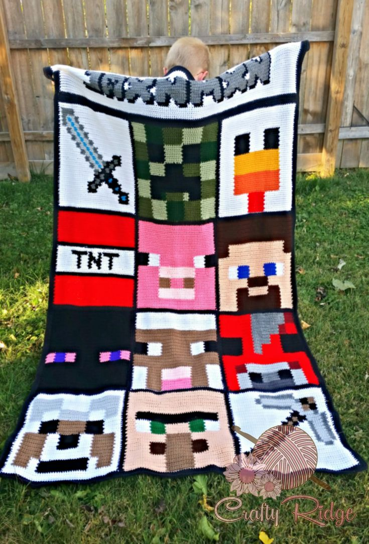 It's the end of the My Minecraft Obsession CAL! But you can still come on over to the blog for free patterns and all the details on this fun Minecraft afghan #craftyridge #crochet #crochetaddict #yarnaddict #fiberart #myminecraftobsession #minecraft #cal #freepatterns